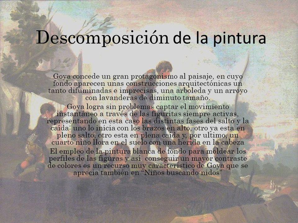 Descomposición de la pintura Goya concede un gran protagonismo al paisaje, en cuyo fondo aparecen unas construcciones arquitectónicas un tanto difumin