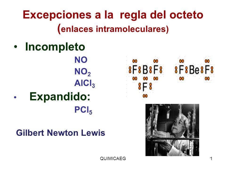 Excepciones a la regla del octeto ( enlaces intramoleculares) Incompleto NO NO 2 AlCl 3 Expandido: PCl 5 Gilbert Newton Lewis QUIMICAEG1