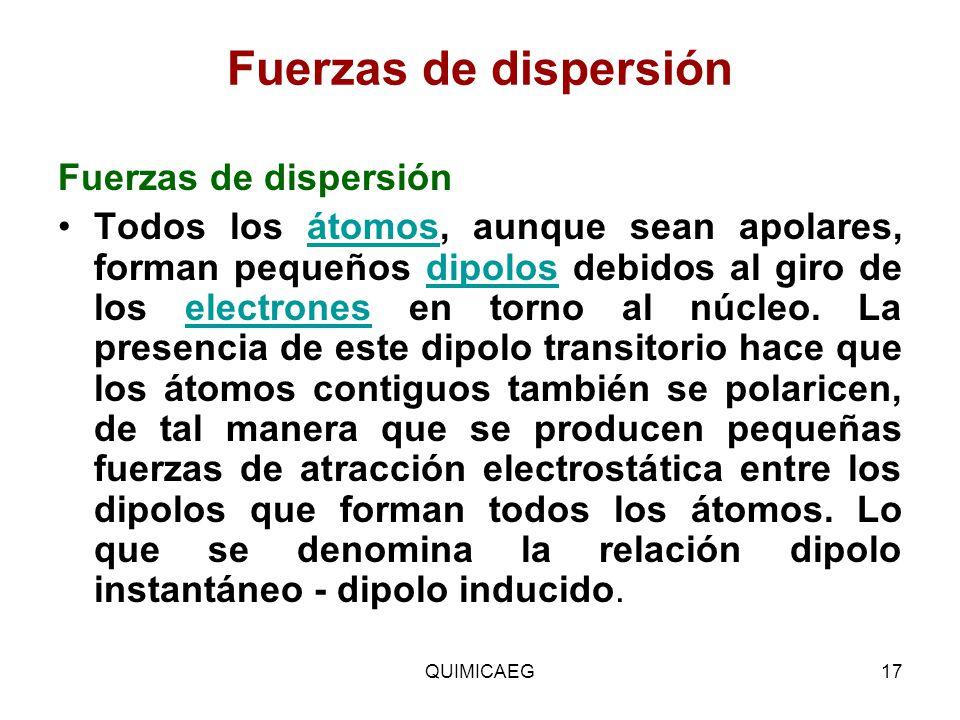 Fuerzas de dispersión Fuerzas de dispersión Todos los átomos, aunque sean apolares, forman pequeños dipolos debidos al giro de los electrones en torno