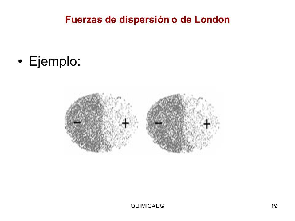 Fuerzas de dispersión o de London Ejemplo: QUIMICAEG19