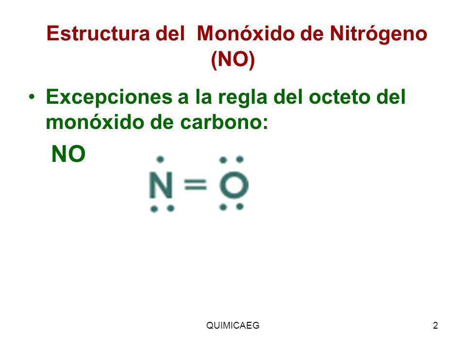 Estructura del Monóxido de Nitrógeno (NO) Excepciones a la regla del octeto del monóxido de carbono: NO QUIMICAEG2