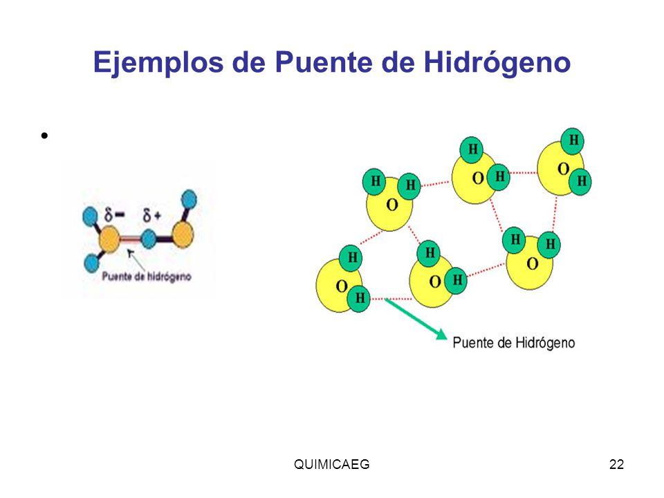Ejemplos de Puente de Hidrógeno QUIMICAEG22