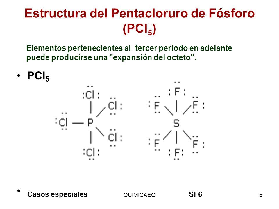 Estructura del Pentacloruro de Fósforo (PCl 5 ) PCl 5 Casos especiales SF6 QUIMICAEG5 Elementos pertenecientes al tercer período en adelante puede pro