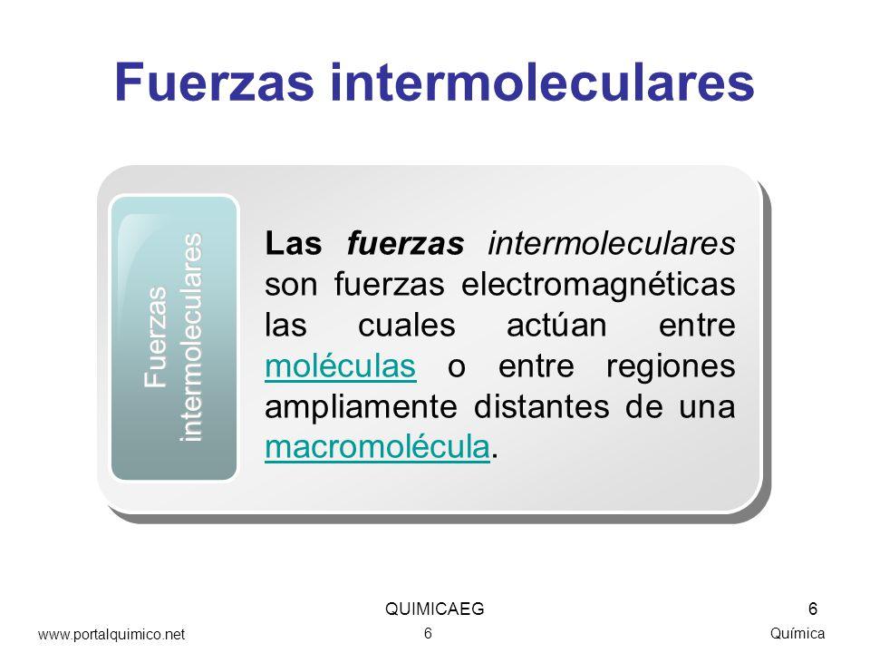 Fuerzas intermoleculares Química Fuerzas intermoleculares Las fuerzas intermoleculares son fuerzas electromagnéticas las cuales actúan entre moléculas