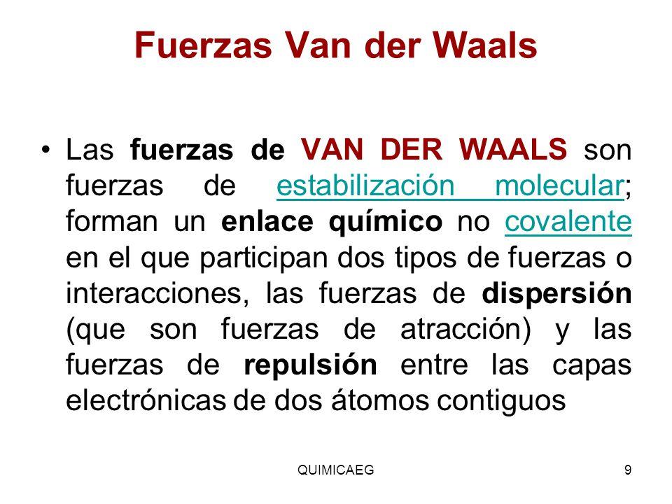 Fuerzas Van der Waals Las fuerzas de VAN DER WAALS son fuerzas de estabilización molecular; forman un enlace químico no covalente en el que participan