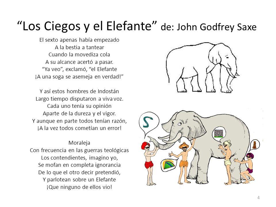 Los Ciegos y el Elefante de: John Godfrey Saxe El sexto apenas había empezado A la bestia a tantear Cuando la movediza cola A su alcance acertó a pasa