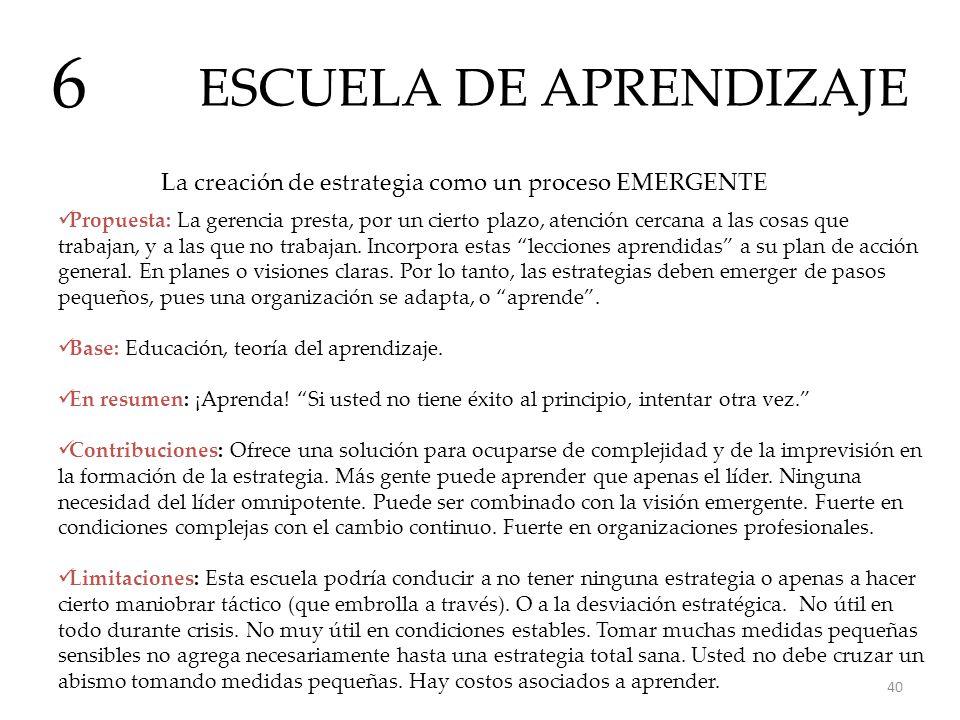 ESCUELA DE APRENDIZAJE 6 La creación de estrategia como un proceso EMERGENTE Propuesta: La gerencia presta, por un cierto plazo, atención cercana a la
