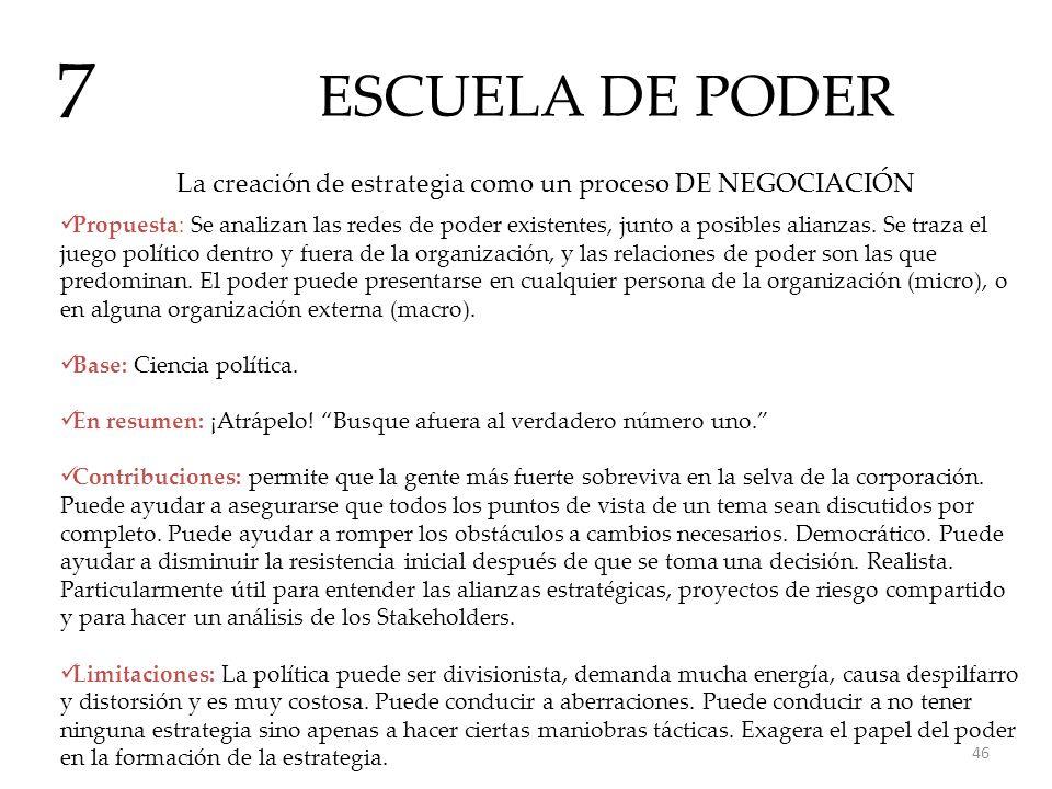 ESCUELA DE PODER 7 La creación de estrategia como un proceso DE NEGOCIACIÓN Propuesta: Se analizan las redes de poder existentes, junto a posibles ali