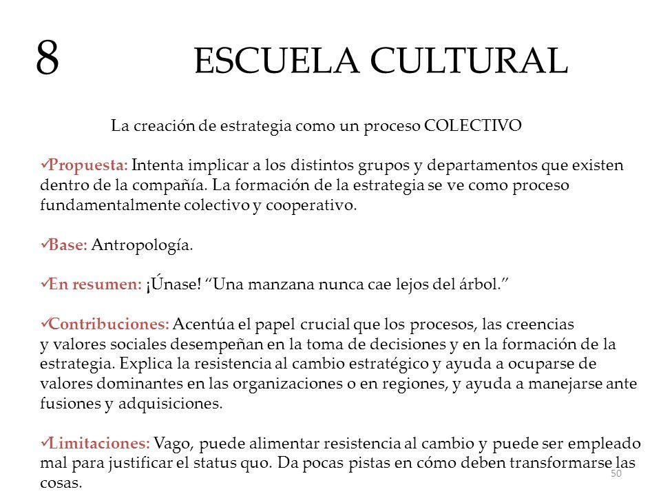 ESCUELA CULTURAL 8 La creación de estrategia como un proceso COLECTIVO Propuesta: Intenta implicar a los distintos grupos y departamentos que existen