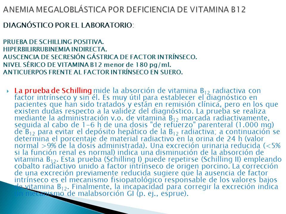 La prueba de Schilling mide la absorción de vitamina B 12 radiactiva con factor intrínseco y sin él.