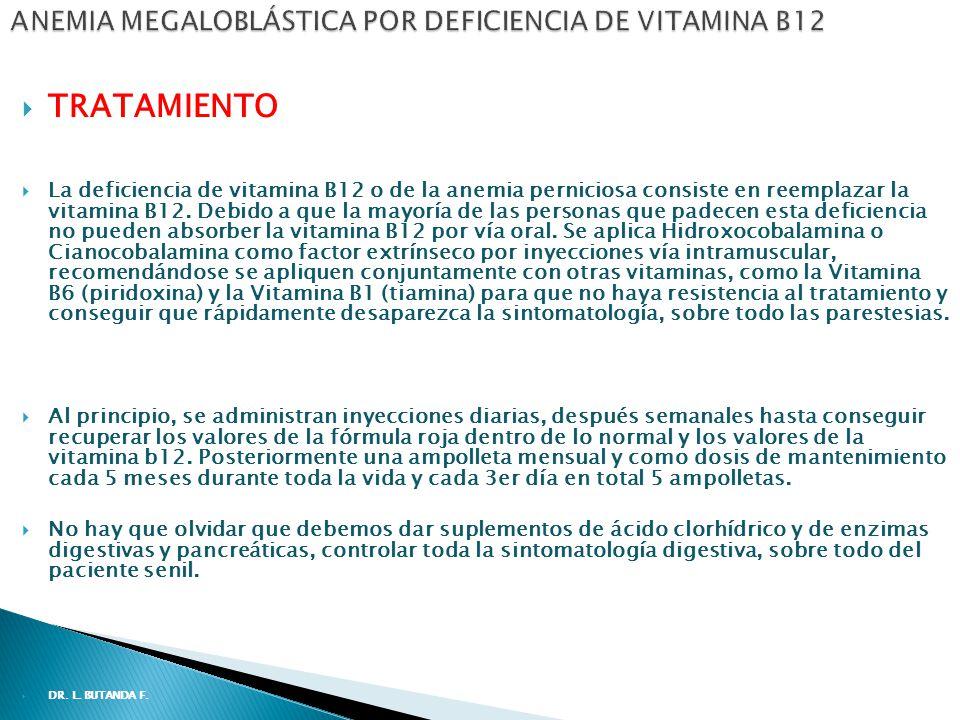 TRATAMIENTO La deficiencia de vitamina B12 o de la anemia perniciosa consiste en reemplazar la vitamina B12.