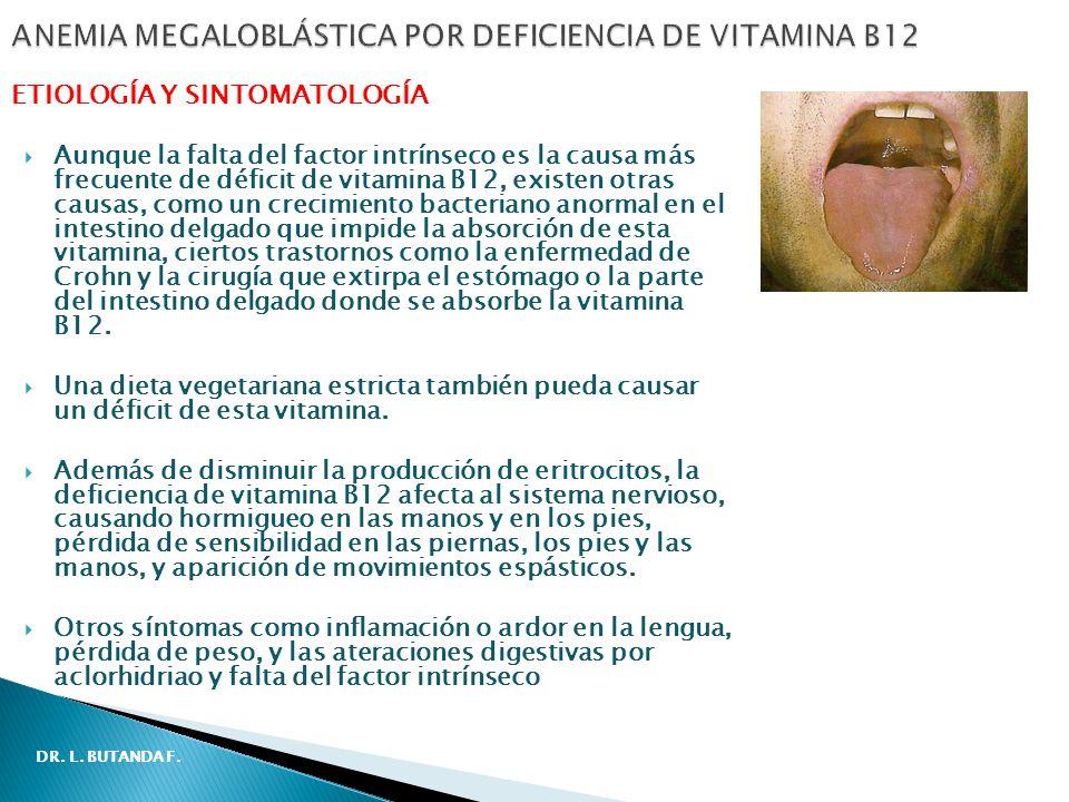 Aunque la falta del factor intrínseco es la causa más frecuente de déficit de vitamina B12, existen otras causas, como un crecimiento bacteriano anormal en el intestino delgado que impide la absorción de esta vitamina, ciertos trastornos como la enfermedad de Crohn y la cirugía que extirpa el estómago o la parte del intestino delgado donde se absorbe la vitamina B12.