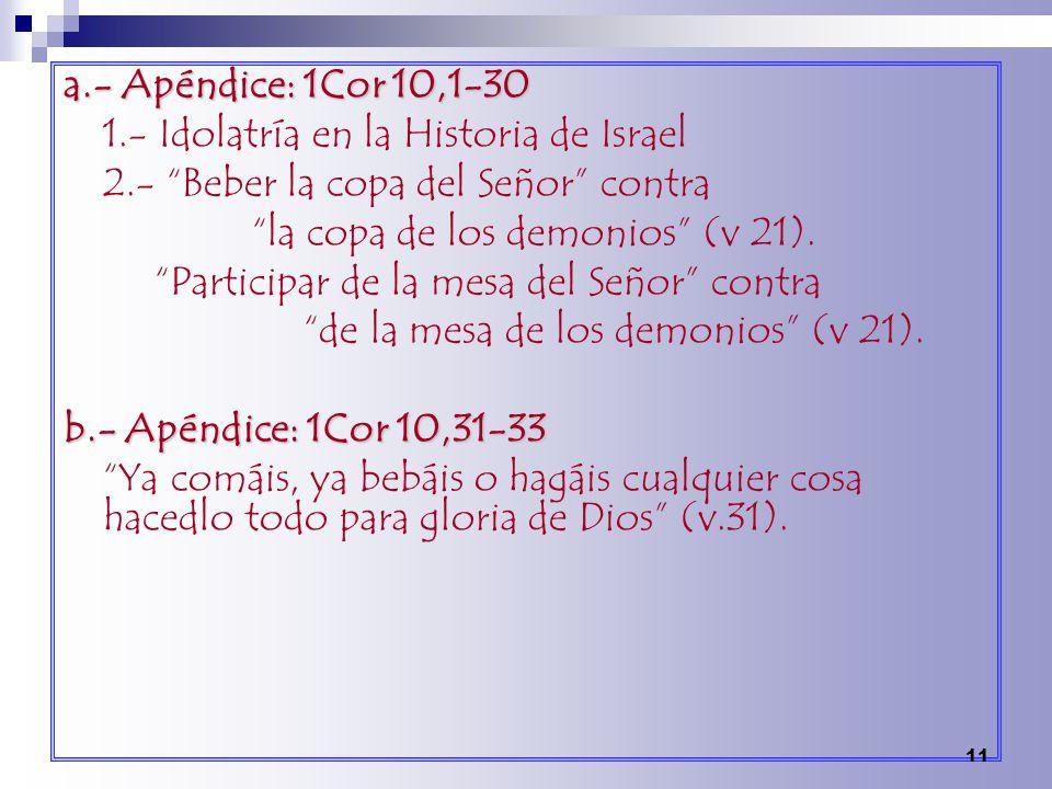 a.- Apéndice: 1Cor 10,1-30 1.- Idolatría en la Historia de Israel 2.- Beber la copa del Señor contra la copa de los demonios (v 21). Participar de la