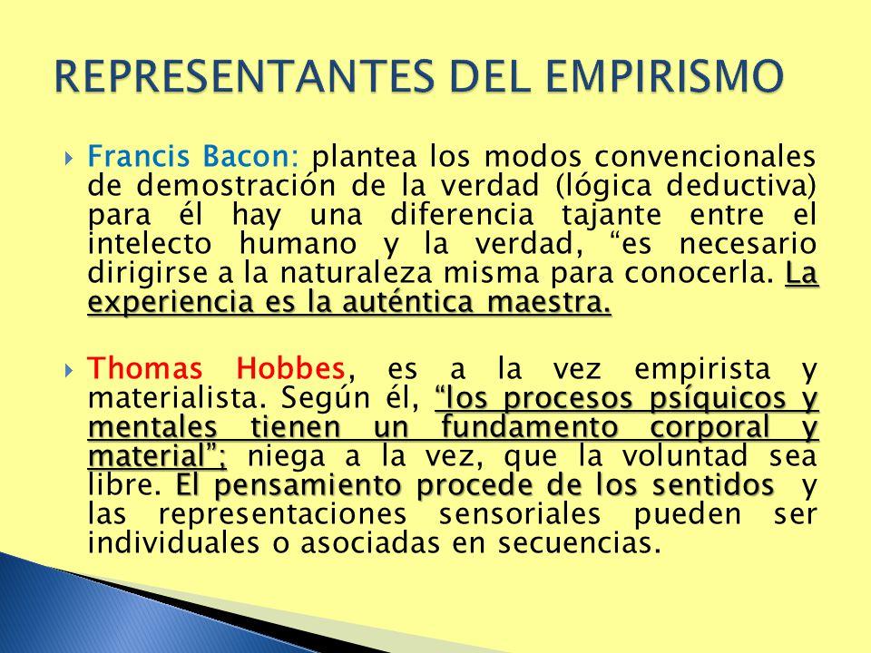 La experiencia es la auténtica maestra. Francis Bacon: plantea los modos convencionales de demostración de la verdad (lógica deductiva) para él hay un