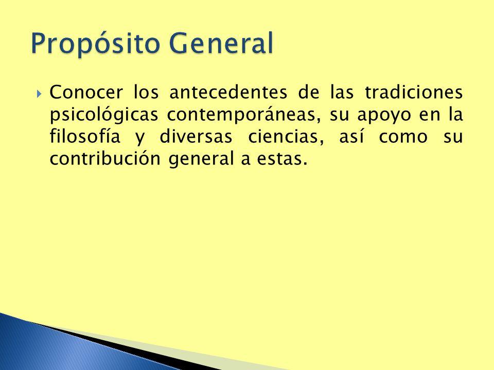 Conocer los antecedentes de las tradiciones psicológicas contemporáneas, su apoyo en la filosofía y diversas ciencias, así como su contribución genera