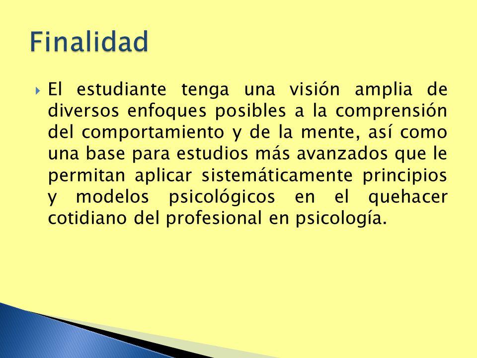 El estudiante tenga una visión amplia de diversos enfoques posibles a la comprensión del comportamiento y de la mente, así como una base para estudios