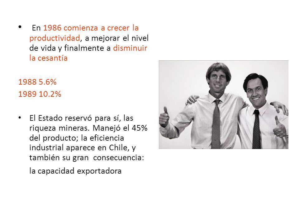 En 1986 comienza a crecer la productividad, a mejorar el nivel de vida y finalmente a disminuir la cesantía 1988 5.6% 1989 10.2% El Estado reservó para sí, las riqueza mineras.