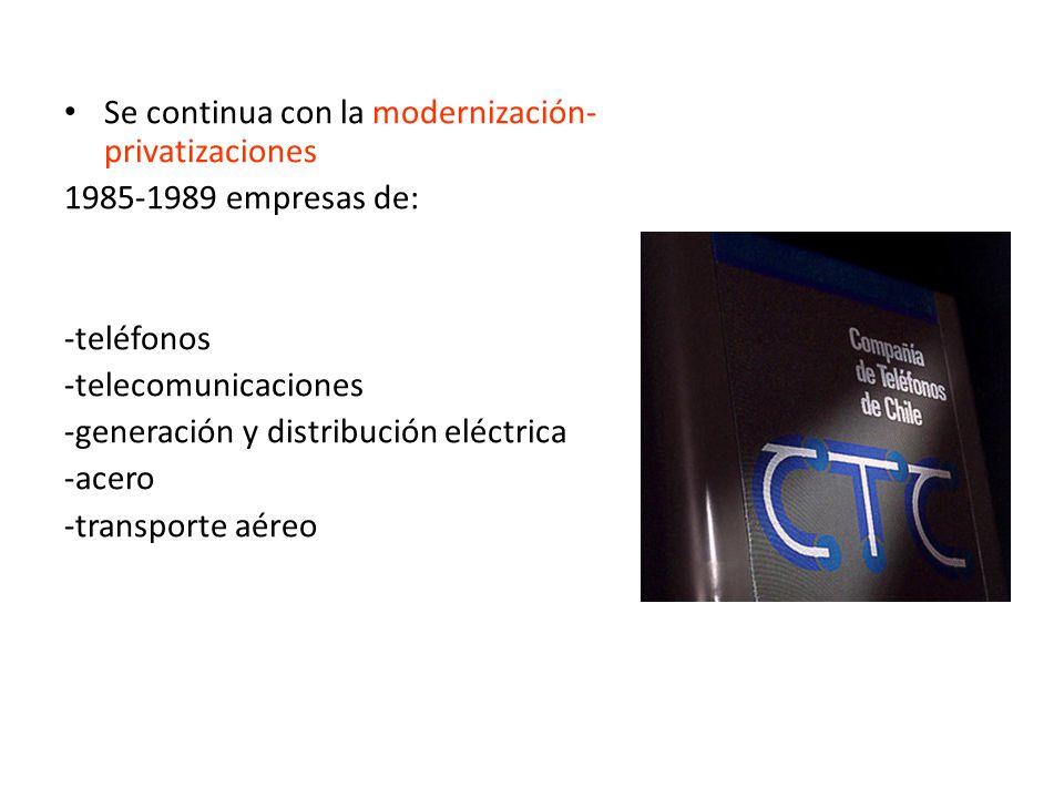 Se continua con la modernización- privatizaciones 1985-1989 empresas de: -teléfonos -telecomunicaciones -generación y distribución eléctrica -acero -transporte aéreo
