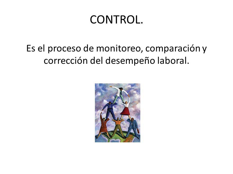 CONTROL. Es el proceso de monitoreo, comparación y corrección del desempeño laboral.