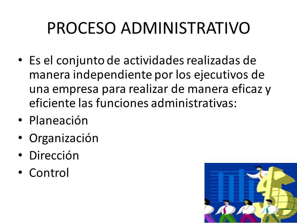 2 PROCESO ADMINISTRATIVO Es el conjunto de actividades realizadas de manera independiente por los ejecutivos de una empresa para realizar de manera eficaz y eficiente las funciones administrativas: Planeación Organización Dirección Control