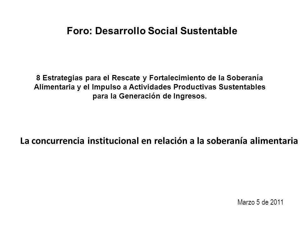 Foro: Desarrollo Social Sustentable 8 Estrategias para el Rescate y Fortalecimiento de la Soberanía Alimentaria y el Impulso a Actividades Productivas Sustentables para la Generación de Ingresos.