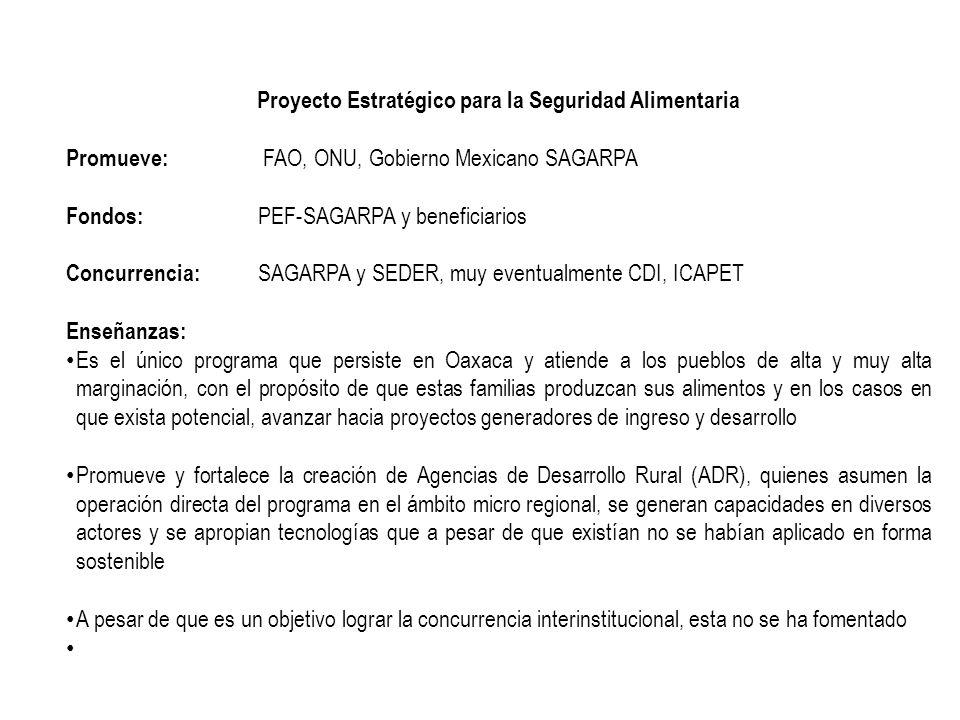 Proyecto Estratégico para la Seguridad Alimentaria Promueve: FAO, ONU, Gobierno Mexicano SAGARPA Fondos: PEF-SAGARPA y beneficiarios Concurrencia: SAG