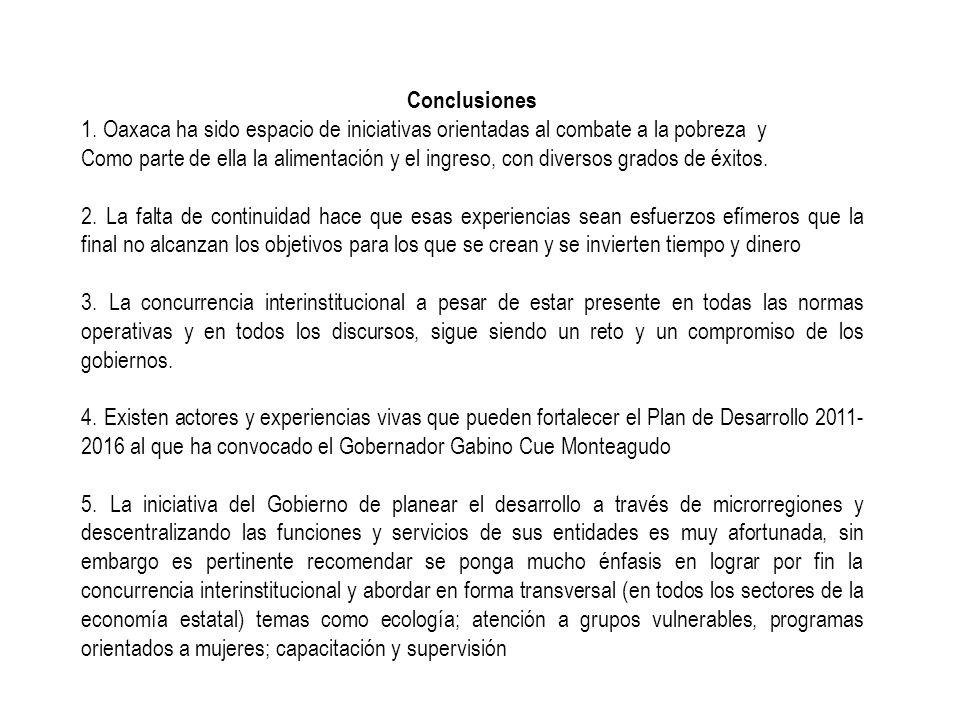 Conclusiones 1. Oaxaca ha sido espacio de iniciativas orientadas al combate a la pobreza y Como parte de ella la alimentación y el ingreso, con divers