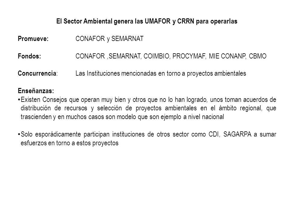 El Sector Ambiental genera las UMAFOR y CRRN para operarlas Promueve: CONAFOR y SEMARNAT Fondos: CONAFOR,SEMARNAT, COIMBIO, PROCYMAF, MIE CONANP, CBMO
