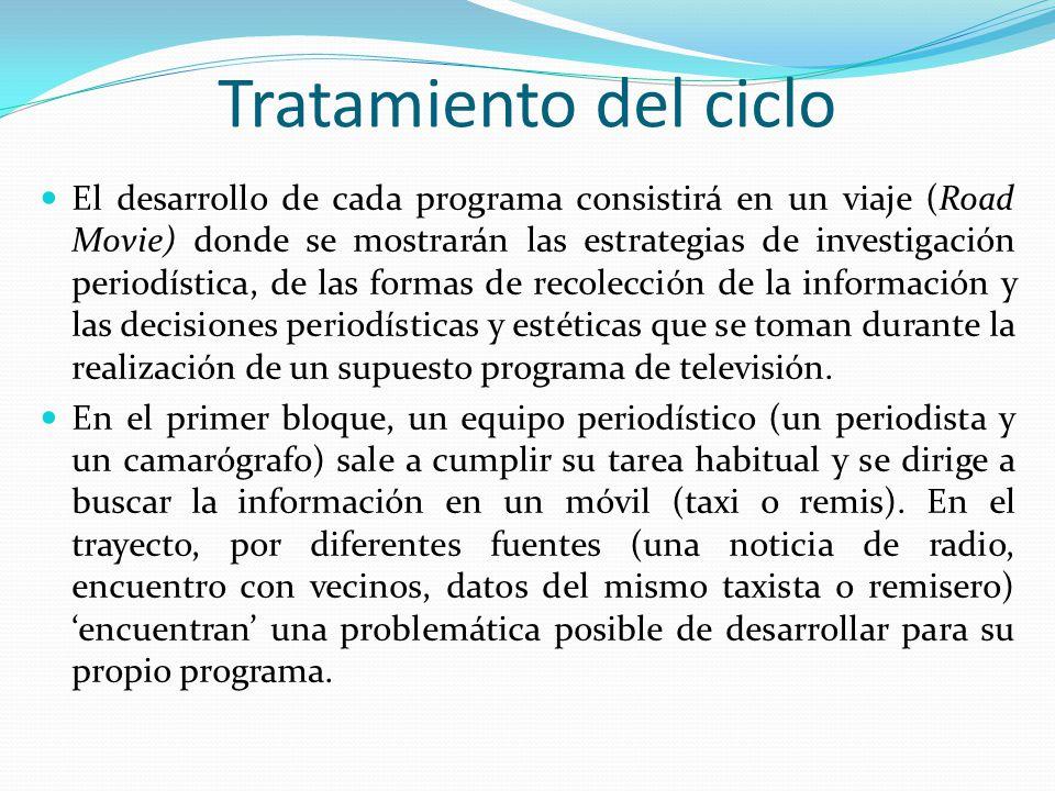Tratamiento del ciclo El desarrollo de cada programa consistirá en un viaje (Road Movie) donde se mostrarán las estrategias de investigación periodíst