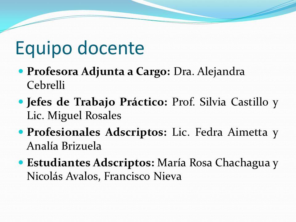 Equipo docente Profesora Adjunta a Cargo: Dra. Alejandra Cebrelli Jefes de Trabajo Práctico: Prof. Silvia Castillo y Lic. Miguel Rosales Profesionales