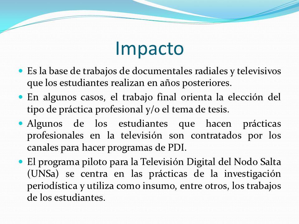 Impacto Es la base de trabajos de documentales radiales y televisivos que los estudiantes realizan en años posteriores. En algunos casos, el trabajo f