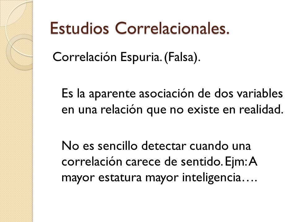 Estudios Correlacionales. Correlación Espuria. (Falsa). Es la aparente asociación de dos variables en una relación que no existe en realidad. No es se