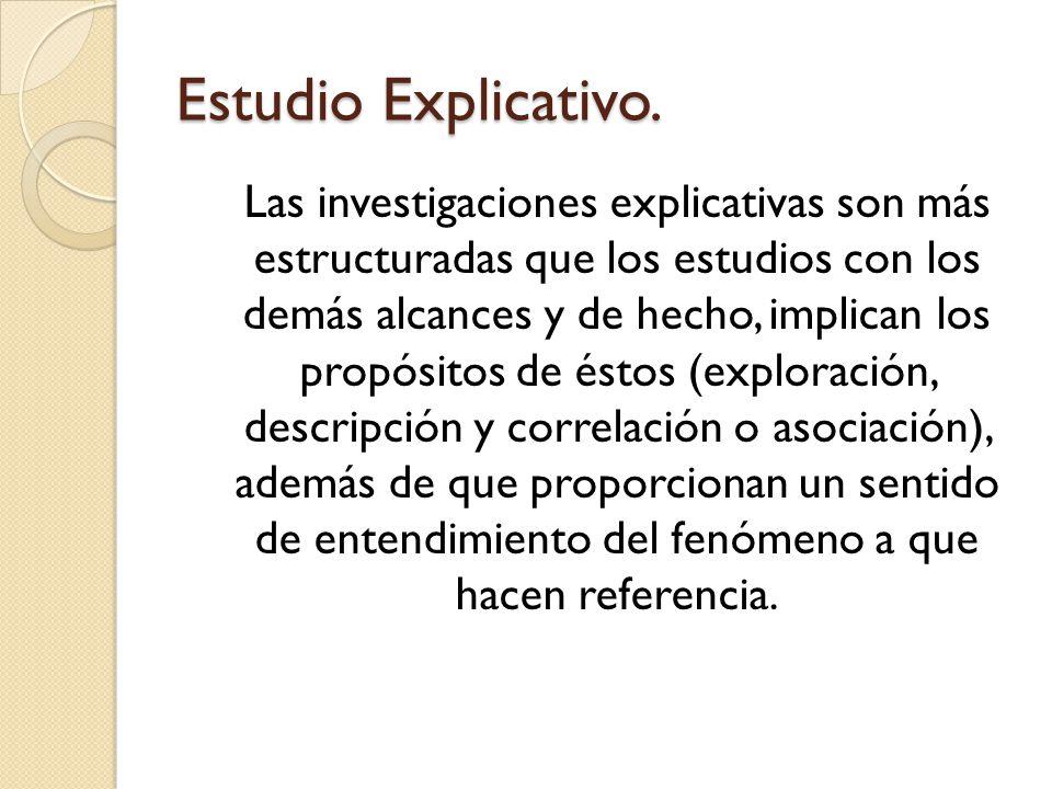 Ejemplo: Cada estudio responderá a preguntas como: Estudios Explicativos.Estudios Descriptivos.