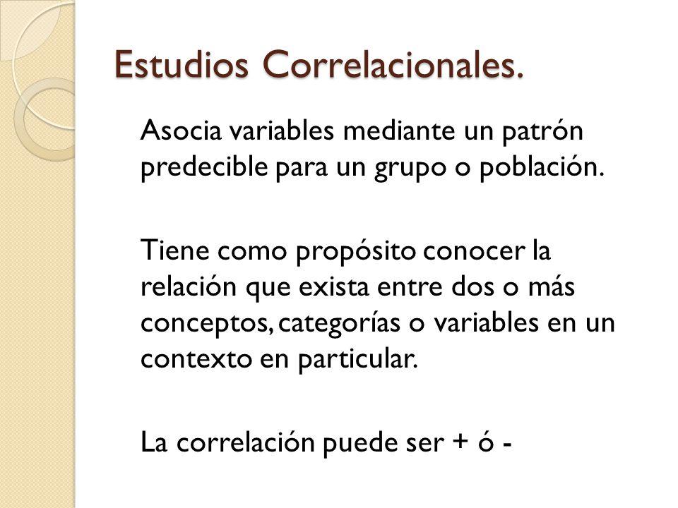 Estudios Correlacionales. Asocia variables mediante un patrón predecible para un grupo o población. Tiene como propósito conocer la relación que exist