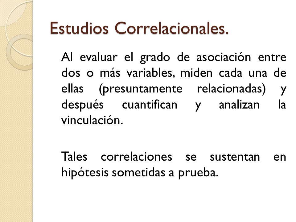 Estudios Correlacionales. Al evaluar el grado de asociación entre dos o más variables, miden cada una de ellas (presuntamente relacionadas) y después