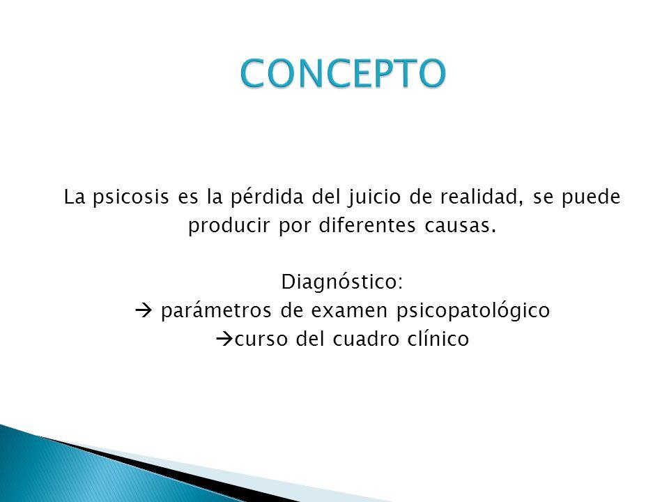 La psicosis es la pérdida del juicio de realidad, se puede producir por diferentes causas. Diagnóstico: parámetros de examen psicopatológico curso del
