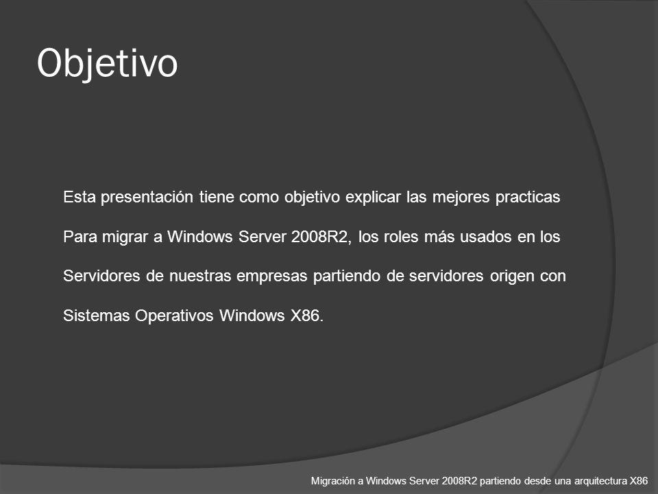 Esta presentación tiene como objetivo explicar las mejores practicas Para migrar a Windows Server 2008R2, los roles más usados en los Servidores de nuestras empresas partiendo de servidores origen con Sistemas Operativos Windows X86.
