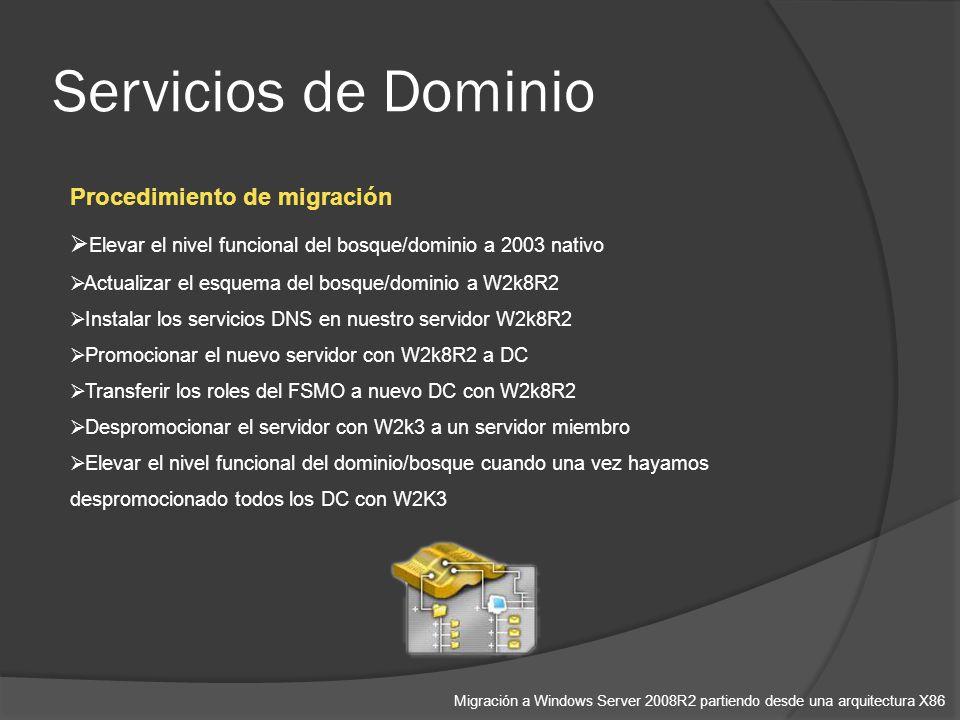 Servicios de Dominio Migración a Windows Server 2008R2 partiendo desde una arquitectura X86 Procedimiento de migración Elevar el nivel funcional del bosque/dominio a 2003 nativo Actualizar el esquema del bosque/dominio a W2k8R2 Instalar los servicios DNS en nuestro servidor W2k8R2 Promocionar el nuevo servidor con W2k8R2 a DC Transferir los roles del FSMO a nuevo DC con W2k8R2 Despromocionar el servidor con W2k3 a un servidor miembro Elevar el nivel funcional del dominio/bosque cuando una vez hayamos despromocionado todos los DC con W2K3