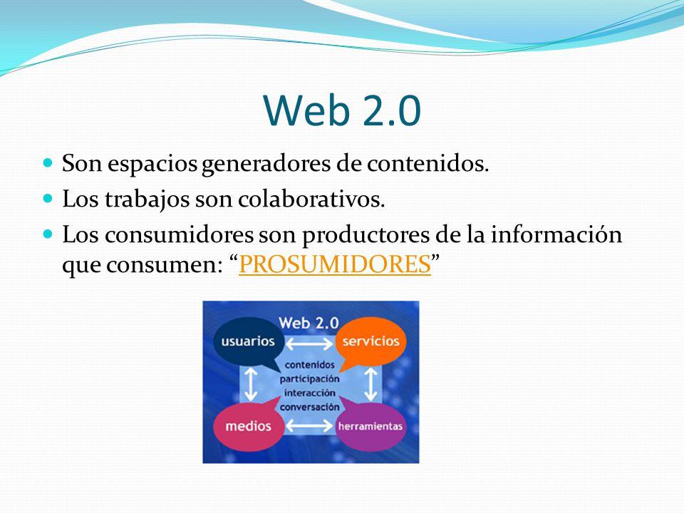 Web 2.0 Son espacios generadores de contenidos. Los trabajos son colaborativos. Los consumidores son productores de la información que consumen: PROSU