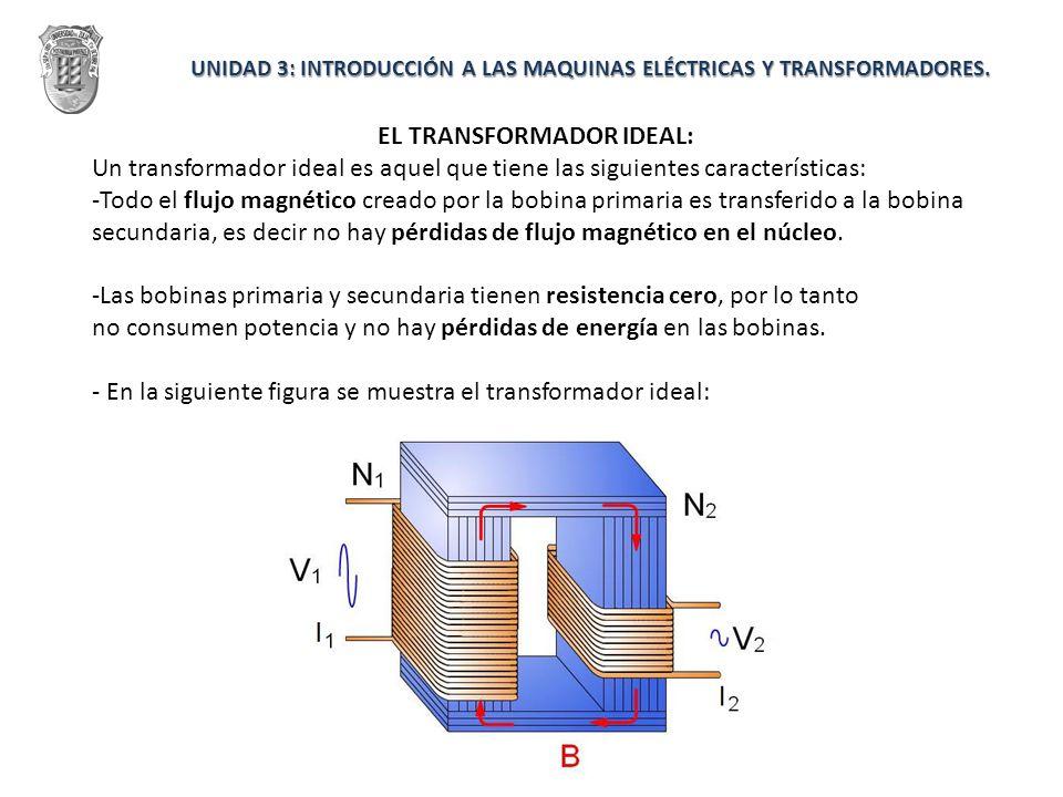 Al aplicar el voltaje V1 variable con el tiempo a la entrada del transformador, circula una I1 que de acuerdo a la Ley de Faraday, establece un flujo magnético B, en la bobina primaria: V1 = N1 B, debido a que el flujo magnético circula por el núcleo, se induce en la bobina secundaria un FEM definido por: V2 = N2 B En condiciones de circuito abierto (sin carga), la corriente por el secundario I2 es cero por lo tanto, igualando las ecuaciones por el término de flujo magnético se tiene la expresión: B = V1 / N1 = V2 / N2 que es igual a V1 / N1 = V2 / N2 O lo que es lo mismo V1 / V2 = N1 / N2 A la relación anterior se le llama, Relación de Transformación y se denota por : α = V1 / V2 = N1 / N2 α el número de veces que se eleva o se reduce el voltaje de entrada V1 voltaje del primario V2 voltaje del secundario N1 numero de vueltas de la bobina primaria N2 numero de vueltas de la bobina secundaria V2 = (N2/N1) x V1 Si N2 > N1 V2 > V1 por lo tanto el Transformador es Elevador Si N1 > N2 V2 < V1 por lo tanto el Transformador es Reductor EL TRANSFORMADOR IDEAL: