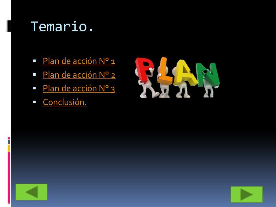 Temario. Plan de acción N° 1 Plan de acción N° 2 Plan de acción N° 3 Conclusión.