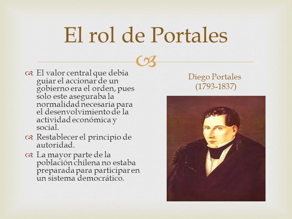 El rol de Portales El valor central que debía guiar el accionar de un gobierno era el orden, pues solo este aseguraba la normalidad necesaria para el