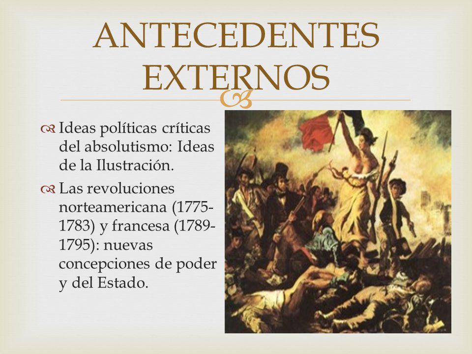 ANTECEDENTES EXTERNOS Ideas políticas críticas del absolutismo: Ideas de la Ilustración. Las revoluciones norteamericana (1775- 1783) y francesa (1789