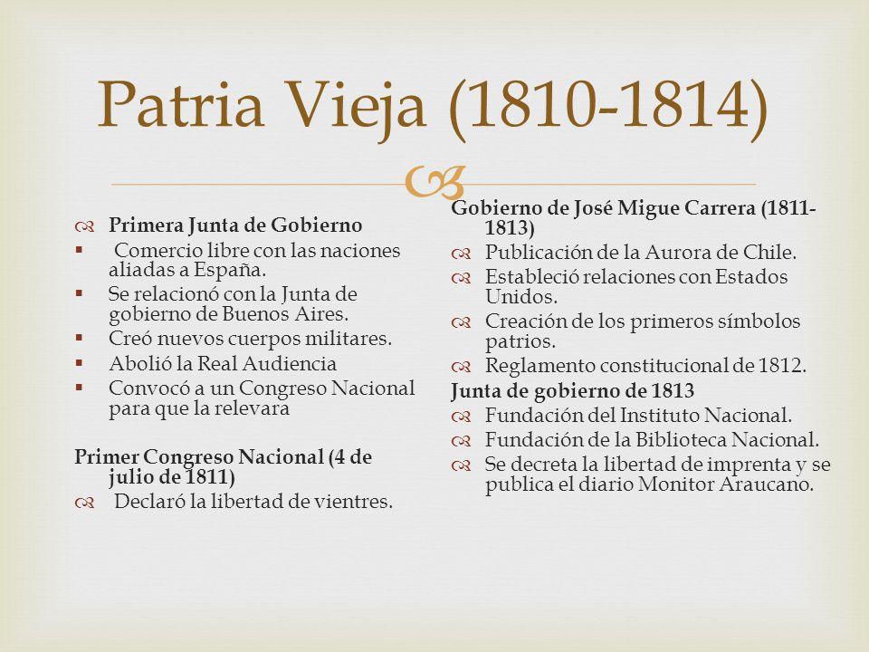 Patria Vieja (1810-1814) Primera Junta de Gobierno Comercio libre con las naciones aliadas a España. Se relacionó con la Junta de gobierno de Buenos A