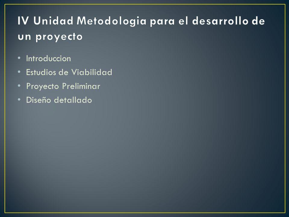 Introduccion Estudios de Viabilidad Proyecto Preliminar Diseño detallado