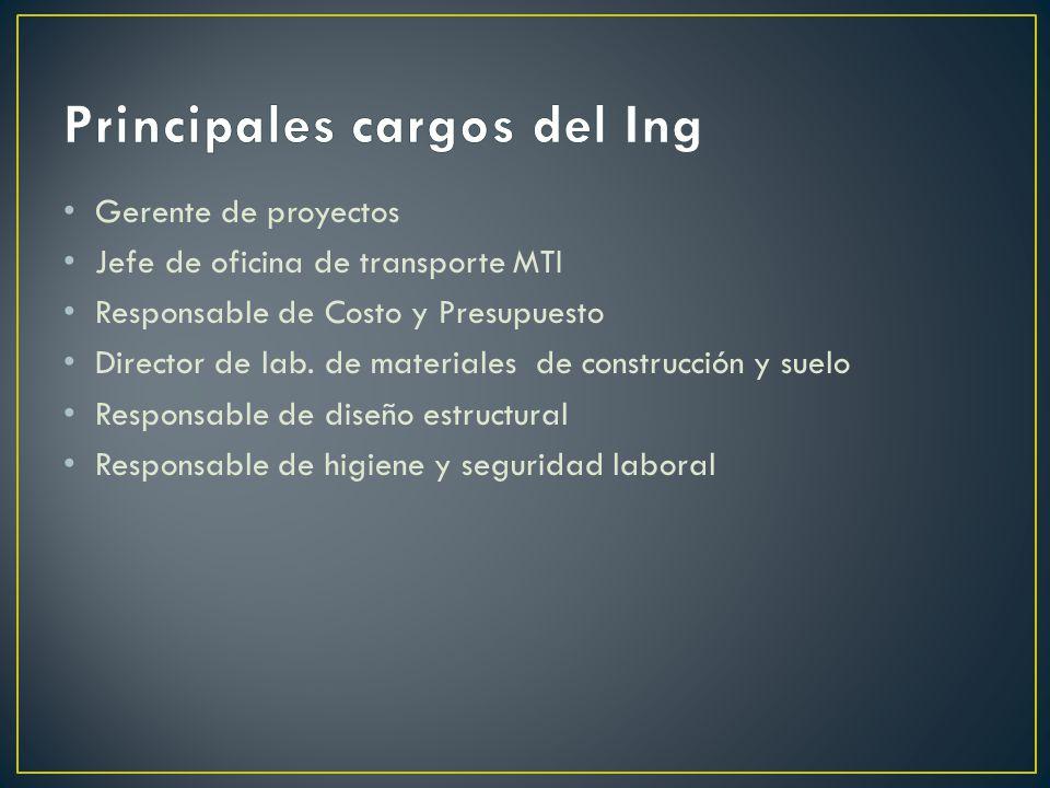 Gerente de proyectos Jefe de oficina de transporte MTI Responsable de Costo y Presupuesto Director de lab.