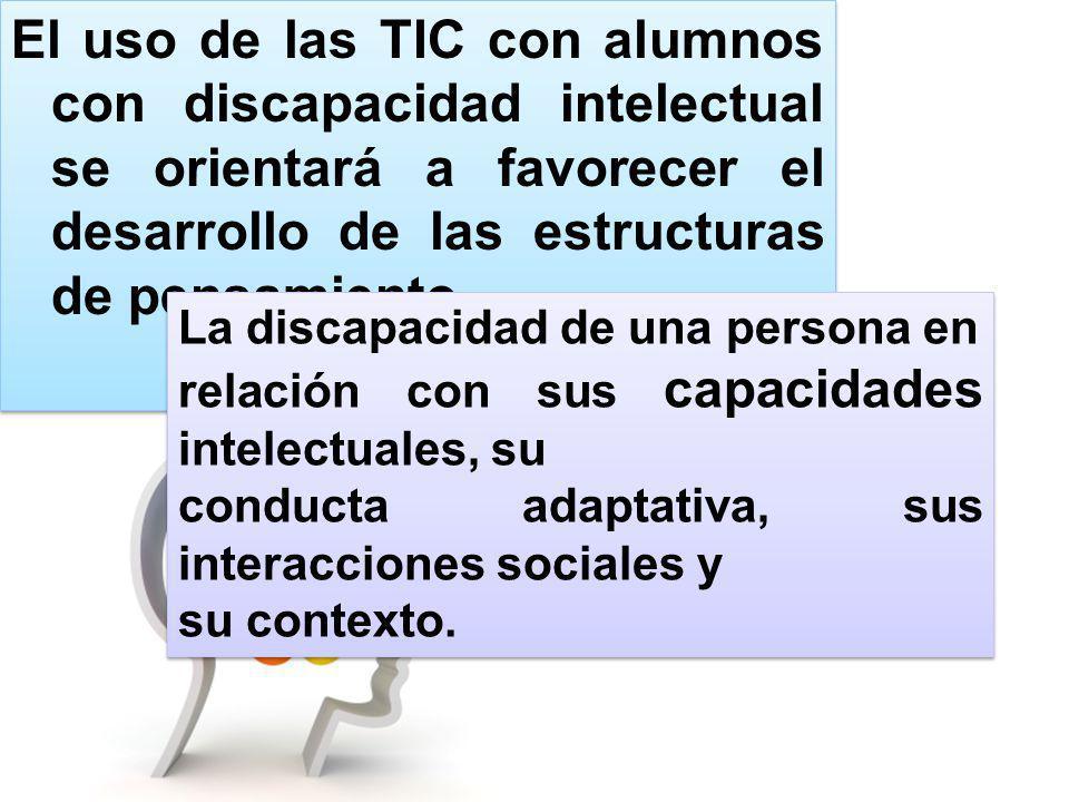 El uso de las TIC con alumnos con discapacidad intelectual se orientará a favorecer el desarrollo de las estructuras de pensamiento, La discapacidad d