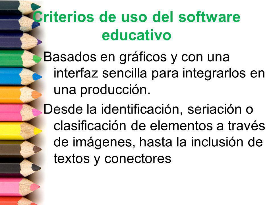 Criterios de uso del software educativo Basados en gráficos y con una interfaz sencilla para integrarlos en una producción. Desde la identificación, s