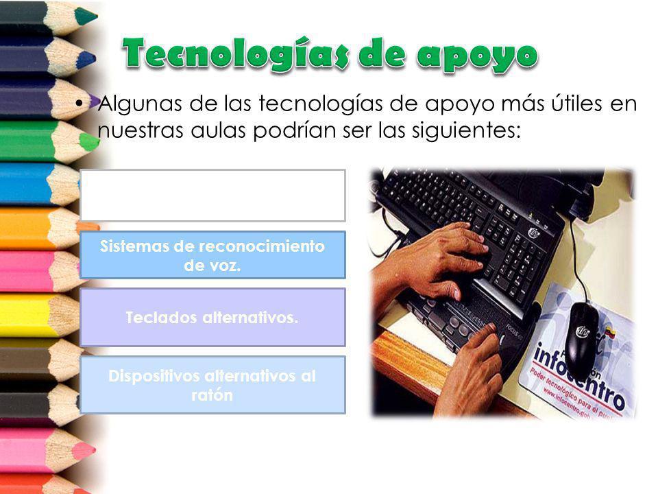 Algunas de las tecnologías de apoyo más útiles en nuestras aulas podrían ser las siguientes: Teclados de pantalla Dispositivos alternativos al ratón T