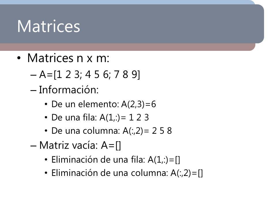 Matrices Matrices n x m: – A=[1 2 3; 4 5 6; 7 8 9] – Información: De un elemento: A(2,3)=6 De una fila: A(1,:)= 1 2 3 De una columna: A(:,2)= 2 5 8 –